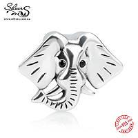 """Серебряная подвеска шарм Пандора (Pandora) """"Слон 1962"""" для браслета бусина"""