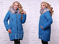 Яркая голубая куртка для зимы