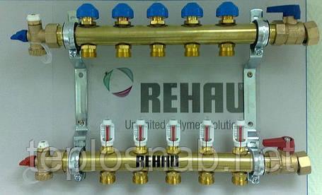Распределительный коллектор REHAU HKV-D на 6 контуров с расходомерами, фото 2