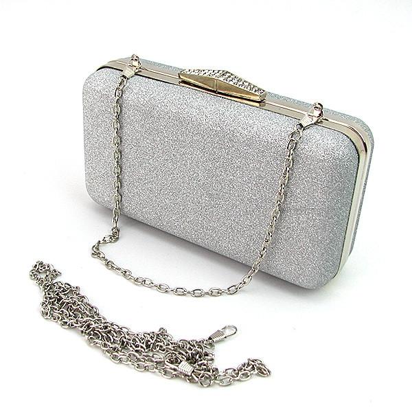 bdbc489b75e8 Клатч-бокс вечерний серебристый с блестками на цепочке - Интернет магазин  сумок SUMKOFF - женские