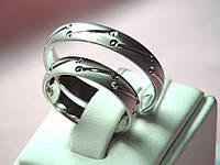 Кольцо золотое 585 пробы обручальное белое золото