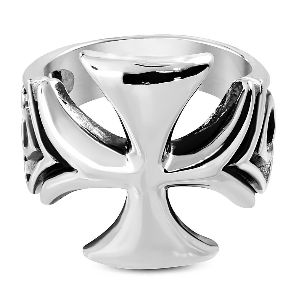 Байкерський перстень з хрестом з медичної сталі