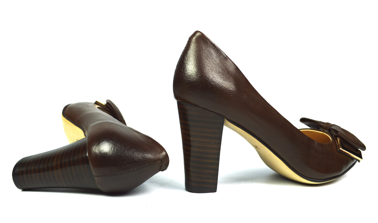 bd9c7f9d9124 Туфли коричневые женские кожаные Miratini на толстом каблуке ( весна, лето,  осень )