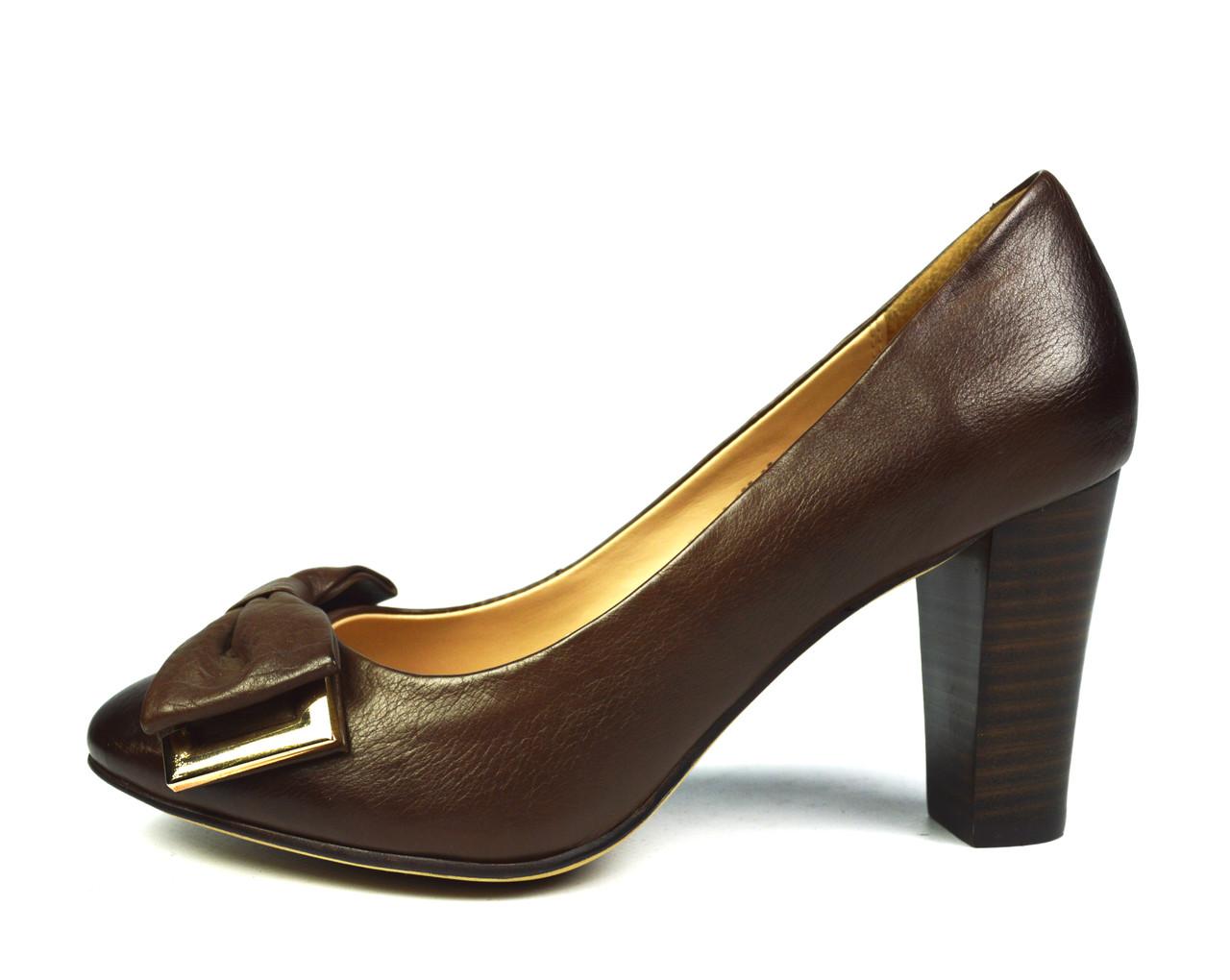 Туфли коричневые женские кожаные Miratini на толстом каблуке ( весна, лето, осень )