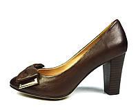 Туфли коричневые женские кожаные Miratini на толстом каблуке ( весна, лето, осень ), фото 1
