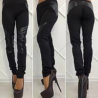 Черные леггинсы с кожаными вставками