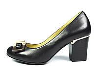 Туфли черные женские кожаные ANNA LUCCI на толстом устойчивом каблуке ( весна, осень, лето ), фото 1