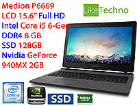 "Игровой ноутбук Medion P6669 15.6"" Full HD Core i5 6-Gen/RAM 8GB/SSD 128GB/GeForce 940MX 2GB"
