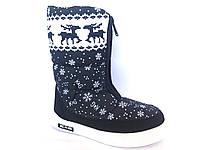 Зимние дутики, сапоги для девочек Д-2 черные(снежинка)