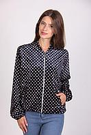 Темно-синяя женская куртка в горох размер:М/Л,ХЛ,ХХЛ