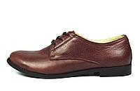 Бордовые туфли женские кожаные ARI ANDANO на низком ходу , фото 1