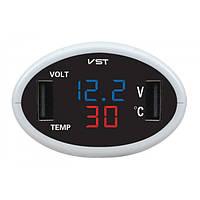 Термометр-вольтметр VST 708, красн, цифры, +2 USB