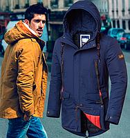 Демисезонная мужская куртка парка - 1842 синий