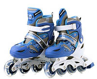 Роликовые коньки, светящиеся колеса, размер 39-42, синий
