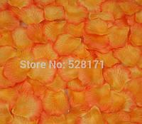 Лепестки розы оранжевые искусственные 2 упаковки 48 шт
