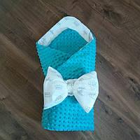 Синий конверт-плед на выписку (демисезонный) 90×90