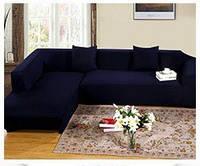 Чехол на угловой диван 230х300 HomyTex универсальный эластичный, синий