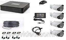 Комплект  гибридный для видеонаблюдения в частном доме на 4 камеры