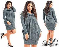 """Стильное тёплое женское платье-туника в больших размерах 482 """"Трикотаж Галифе Капюшон"""" в расцветках"""