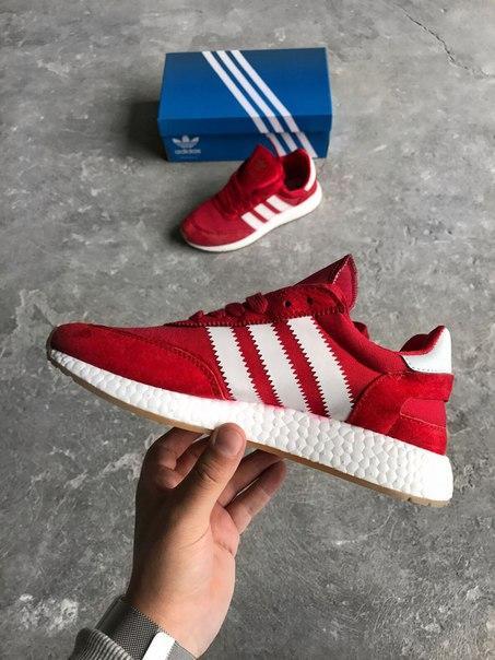 """Мужские кроссовки Adidas Iniki Boost """"Bright Red"""" красные топ реплика"""