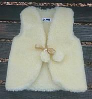 Детская меховая жилетка из овчины желтого цвета 1-2 года