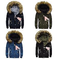 Женская двусторонняя зимняя куртка бомбер с  капюшоном №1