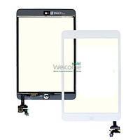 Сенсор (тач скрин) Apple iPad Mini, Mini 2 Retina со шлейфом и кнопкой white (оригинал)