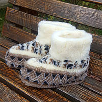 Тёплые женские тапочки. Чуни из овчины полувышивка 36-41р