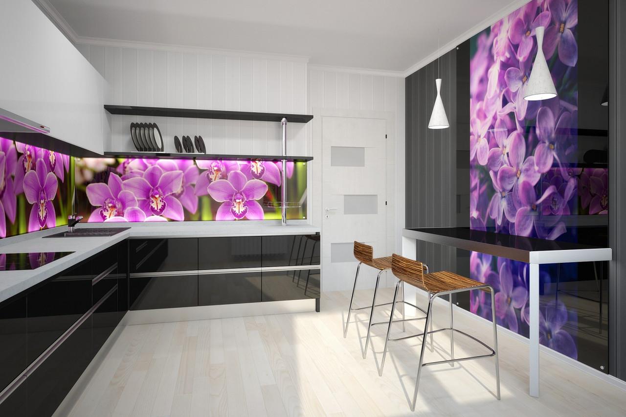 Стеклянная панель для кухни с изображением цветов розовой орхидеи