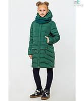 Пальто детское зимнее на девочку Соня с вязаным хомутом Изумруд Размер 122- 164