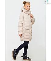Пальто детское зимнее на девочку Соня с вязаным хомутом Размер 122- 164