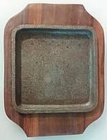 Сковорода чугун порционная на деревянной подставке 150*100 мм