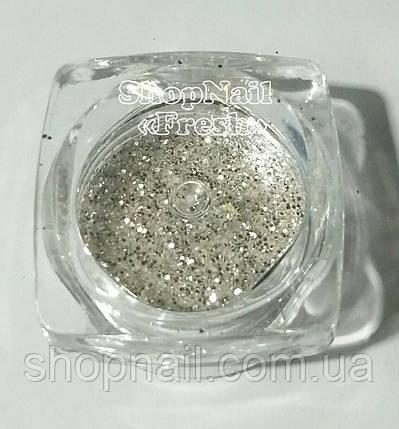 Конфетти серебро, мелкие круги с блестками, фото 2