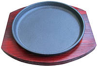 Сковорода чугун порционная на деревянной подставке 190 мм