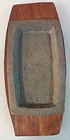 Сковорода чугун порционная на деревянной подставке 300*200 мм