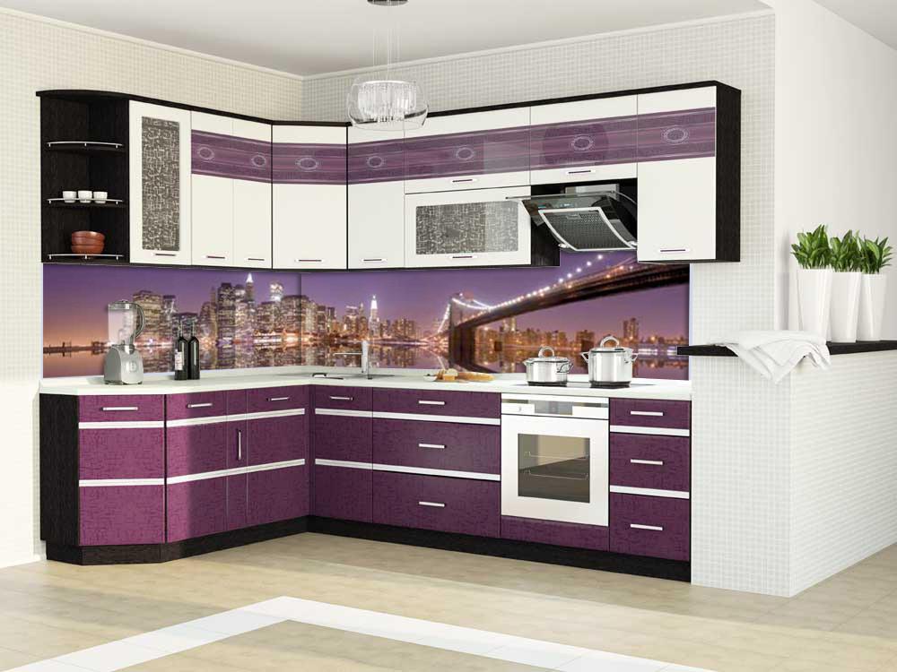 Стеклянная панель для кухни с изображением ночного города на реке