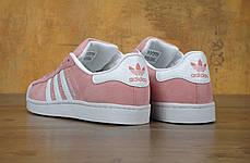 Кроссовки женские Adidas Superstar Pink розовые топ реплика, фото 2