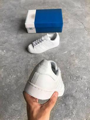 Кроссовки женские Adidas Superstar All White топ реплика, фото 2