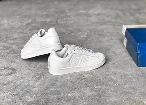 Кроссовки женские Adidas Superstar All White топ реплика, фото 3