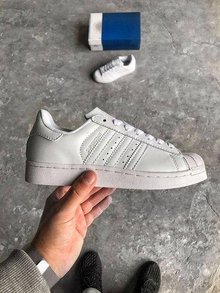 Кроссовки женские Adidas Superstar All White топ реплика