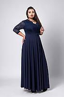 Платье мод №531-1, размер 52,54,56,58 темно синее