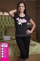 М-082 Женский костюм для дома и отдыха с футболкой и штанами ниже колена Турция