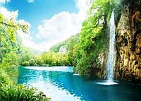 Фартук для кухни из стекла - озеро с водопадом