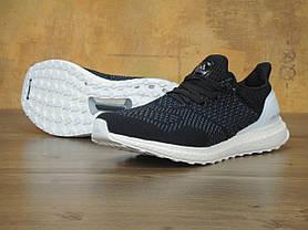 Кроссовки мужские Adidas Ultra Boost черно-белые топ реплика, фото 2
