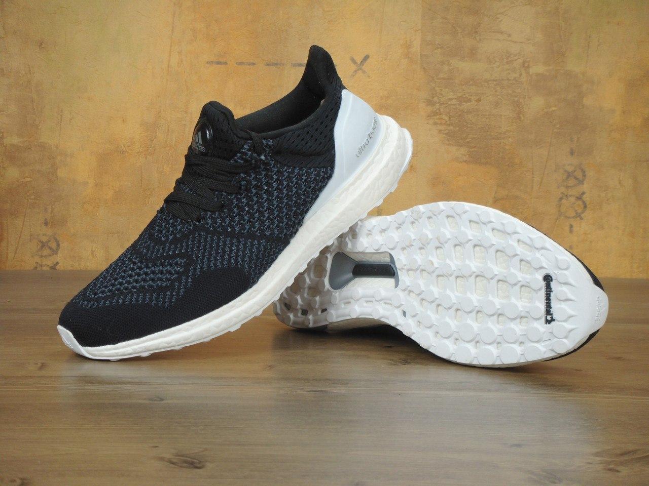 Кроссовки мужские Adidas Ultra Boost черно-белые топ реплика