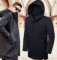 Стильная демисезонная куртка парка - 9019 черный