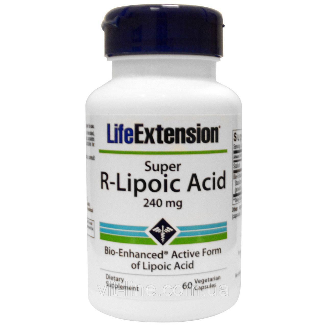 Life Extension, Супер R-липоевая кислота, 240 мг, 60 капсул на растительной основе