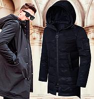 Мужская стильная демисезонная куртка парка - 9098 черный