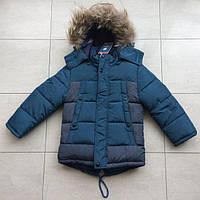 Куртка зимняя на мальчика 116-134 см, возраст 5,6,7,8 лет. Бирюзовая