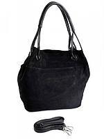 Замшевая женская сумка черная 520